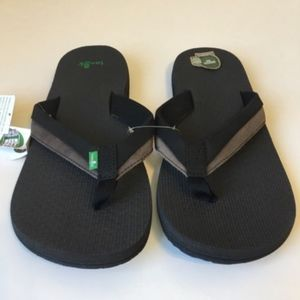 New Sanuk Mens Flip Flop 13 Black Brown